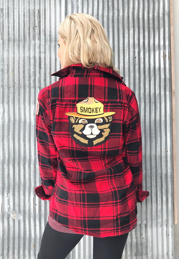Smokey Bear Patch Flannel Buffalo Plaid Red
