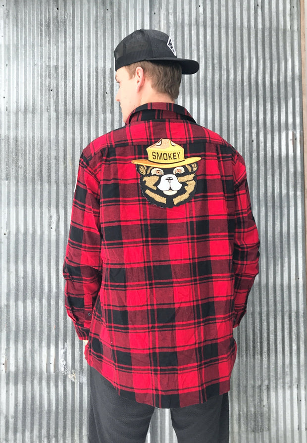Smokey Bear Patch Flannel- Buffalo Plaid Red