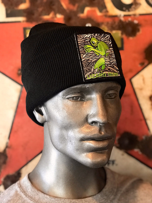 Lizard Man Cryptid Stocking Hat- Black