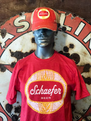 Schaefer Beer Tee Shirt- Red