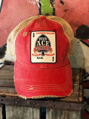 Penn Ace Motor Oil Gasoline Trucker Patch Hat- Distressed Red Snapback