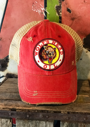 Wolf's Head Oil Hat- Distressed Red Snapback