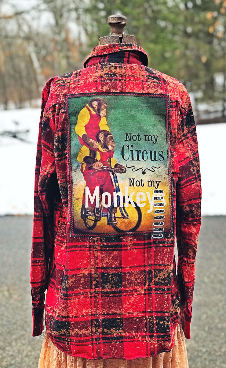 Not my Circus not my Monkeys Flannel - Red Angry Minnow Vintage