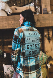 Blame it on my Gypsy Soul -Turquoise/ Black Plaid Angry Minnow Vintage