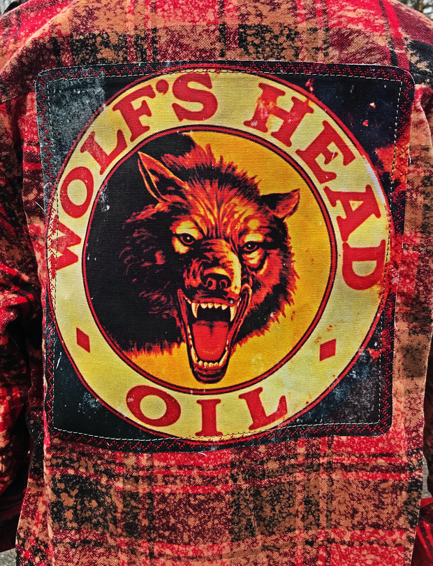 Wolfs Head Oil Flannel Art Flannel- Distressed Red- Angry Minnow Vintage