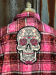 Embroidered Rose Skull Flannel - Distressed Pink