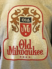 Old Milwaukee Beer Vintage Logo Tee- Heather Grey
