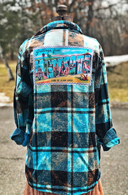 Greetings from Minnesota Art Flannel-Distressed Turquoise Angry Minnow Vintage