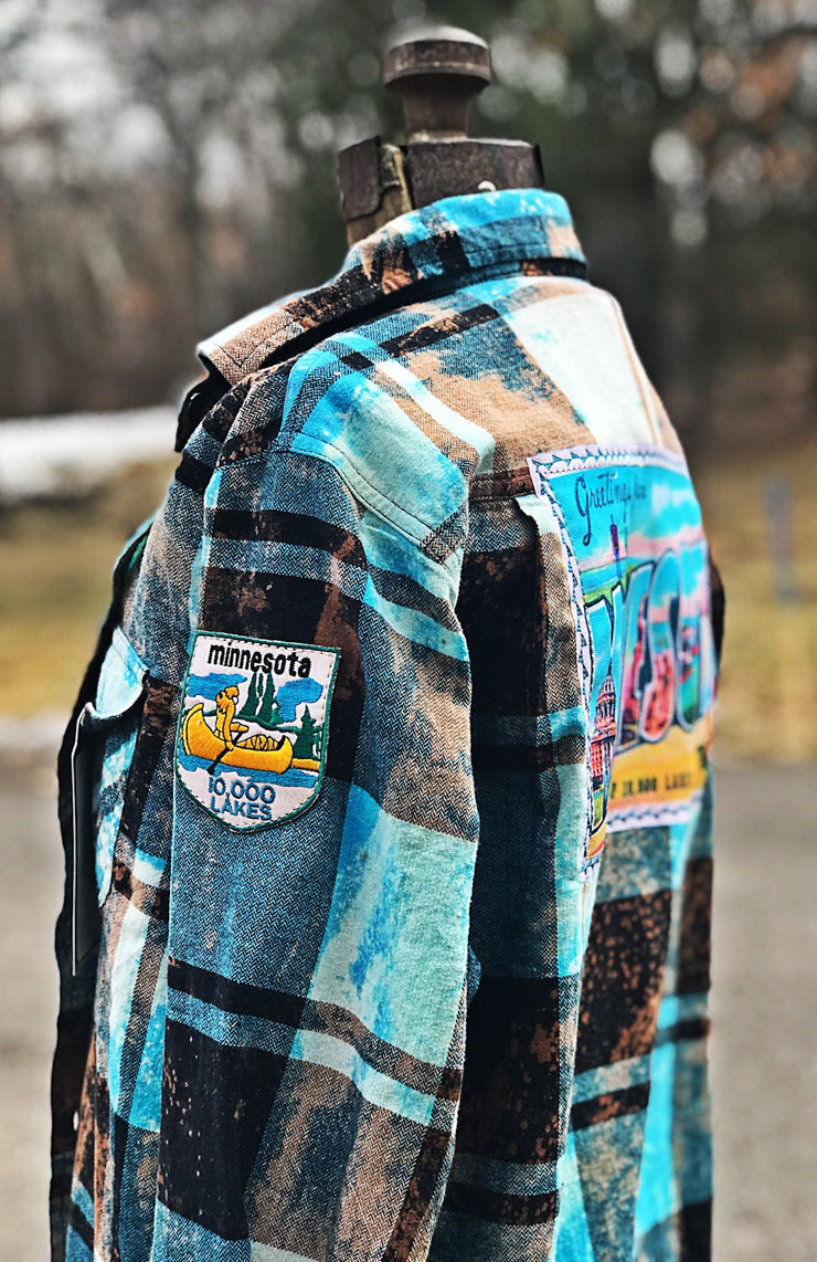 Greetings from Minnesota Art Flannel- Distressed Turquoise