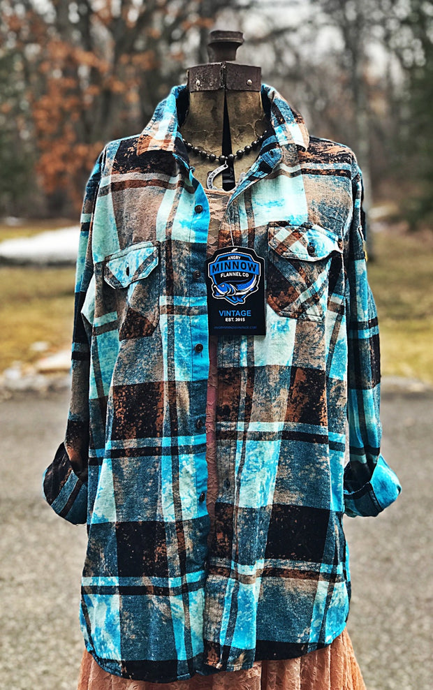 Greetings from Minnesota-Distressed Turquoise-Flannel by Angry Minnow Vintage