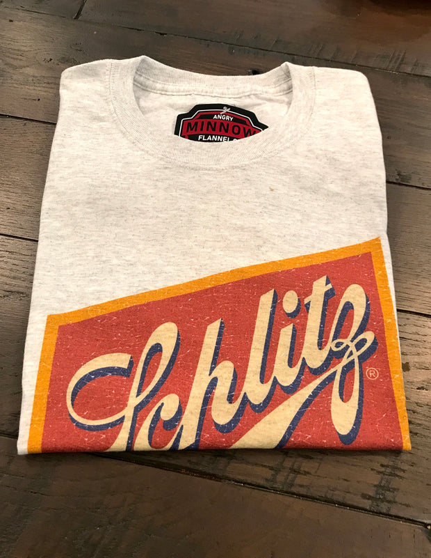 Schlitz Tee- Grey- Angry Minnow Vintage