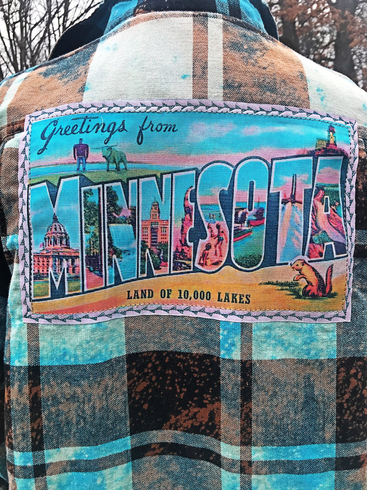 Greetings from Minnesota Flannel Angry Minnow Vintage