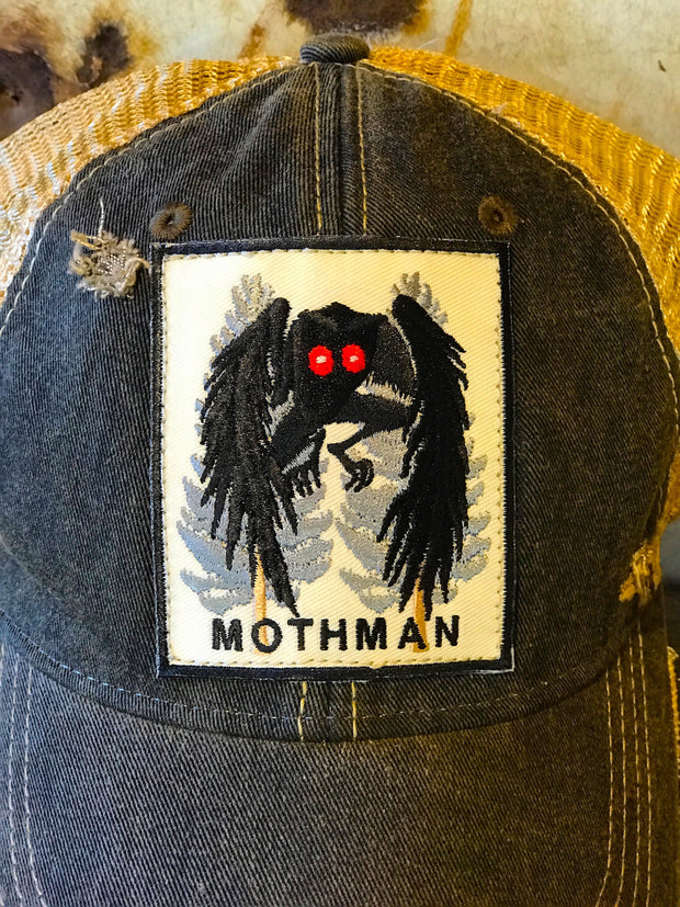 MOTHMAN Cryptid Series Hat - Distressed Black Snapback