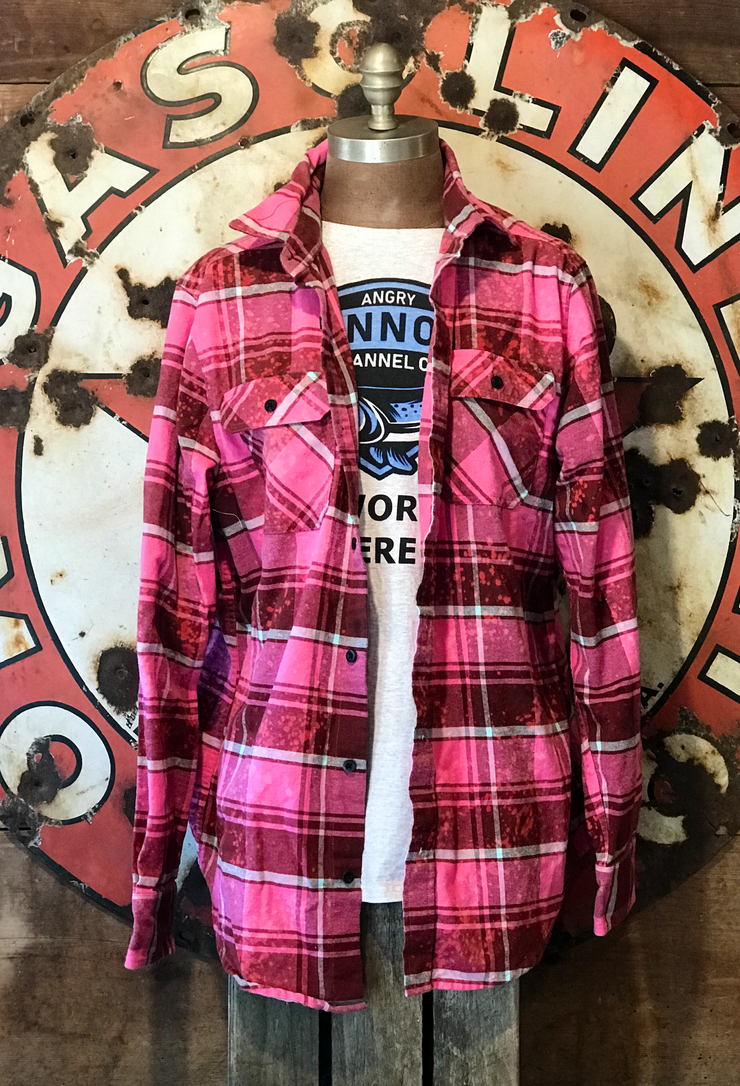 Peepen the Chicken- What the Cluck Flannel- Distressed Pink