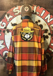 Smokey Bear Patch Flannel- UP NORTH Classic Plaid