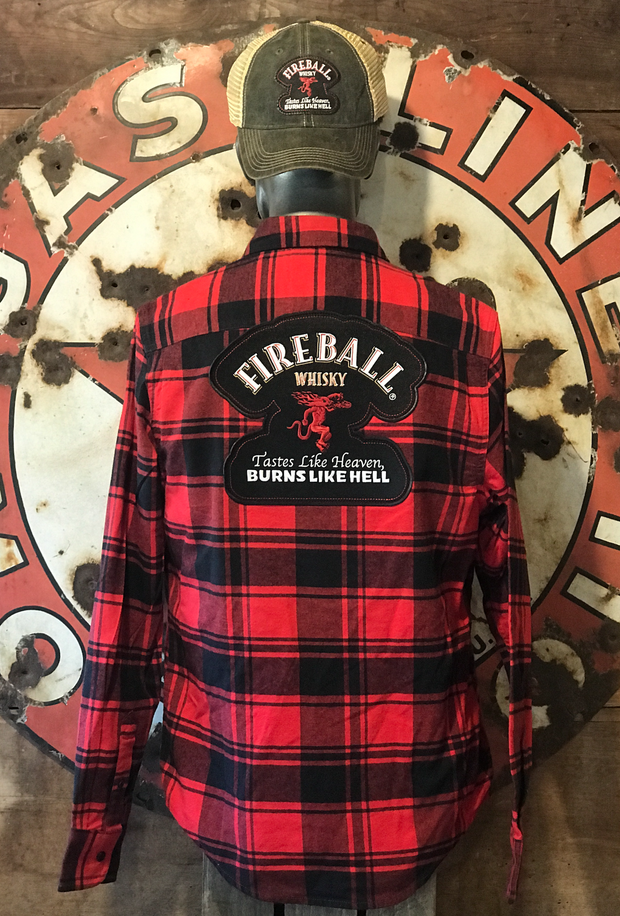 Fireball Whisky Flannel- Classic Red and Black