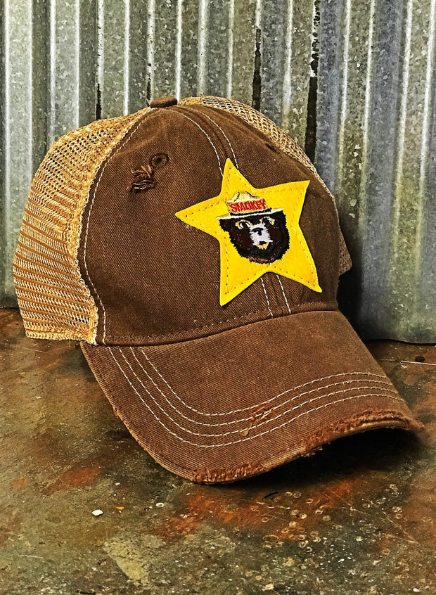 Smokey the Bear Ranger Star hat- Distressed Brown Snapback