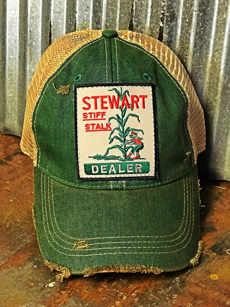 Stiff Stalk Hat- Distressed Kelly Green