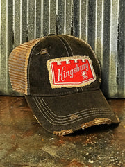 Kingsbury Beer Patch Trucker Hat- Distressed Black Angry Minnow Vintage