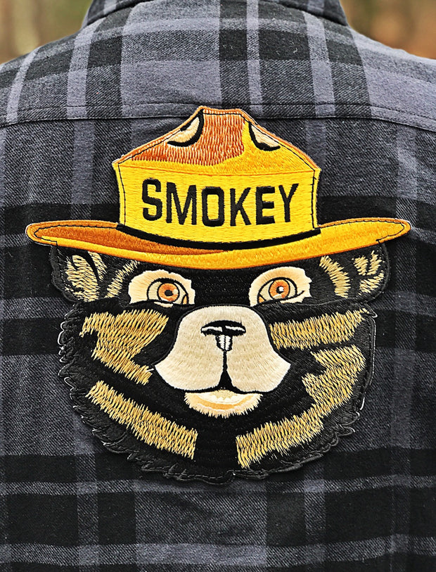 Smokey Bear Patch Flannel- Black/Charcoal Angry Minnow Vintage Officially Licensed