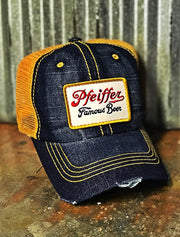 Pfeiffer Beer Patch Trucker Hat- Vintage Denim Yellow Angry Minnow Vintage