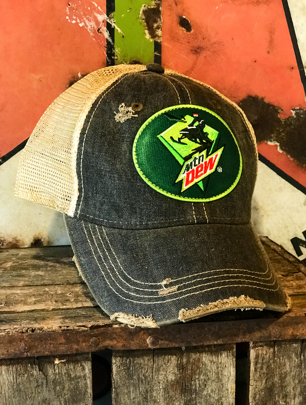 "Mountain Dew ""Sled"" Hat- Distressed Black Snapback"