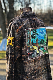 Smokey Bear Jeep  Art Flannel- Distressed Black Angry Minnow Vintage
