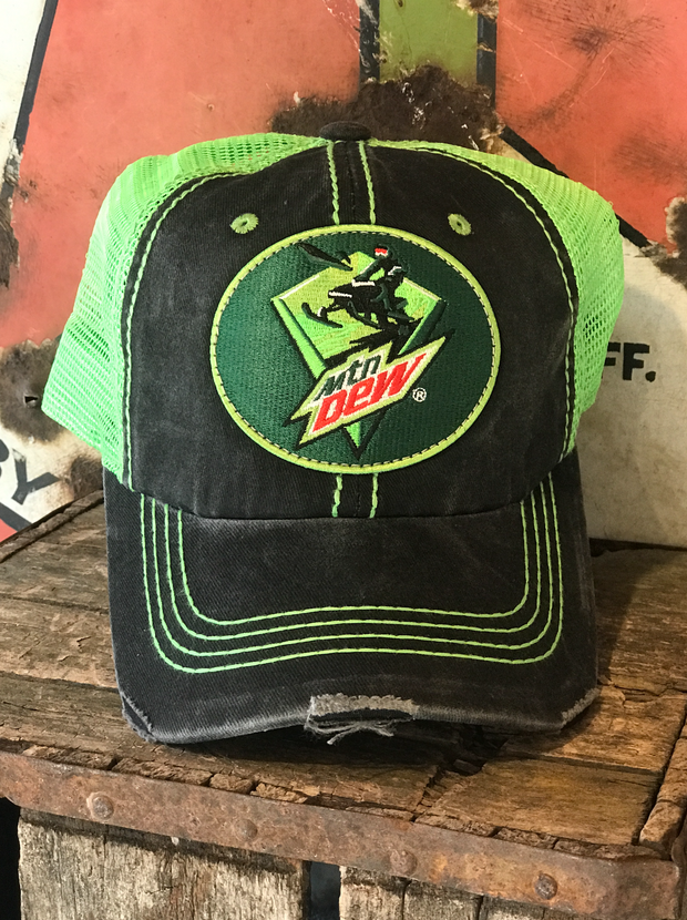 Mountain Dew Distressed Ball Caps