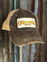 Olympia Beer Ivory Patch Hat - Distressed Brown Snapback