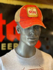 Stag Beer Hat- Distressed Red
