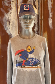 Pabst Blue Ribbon Beer COOL BLUE Snowmobile Long Sleeved Tee - Heather Grey