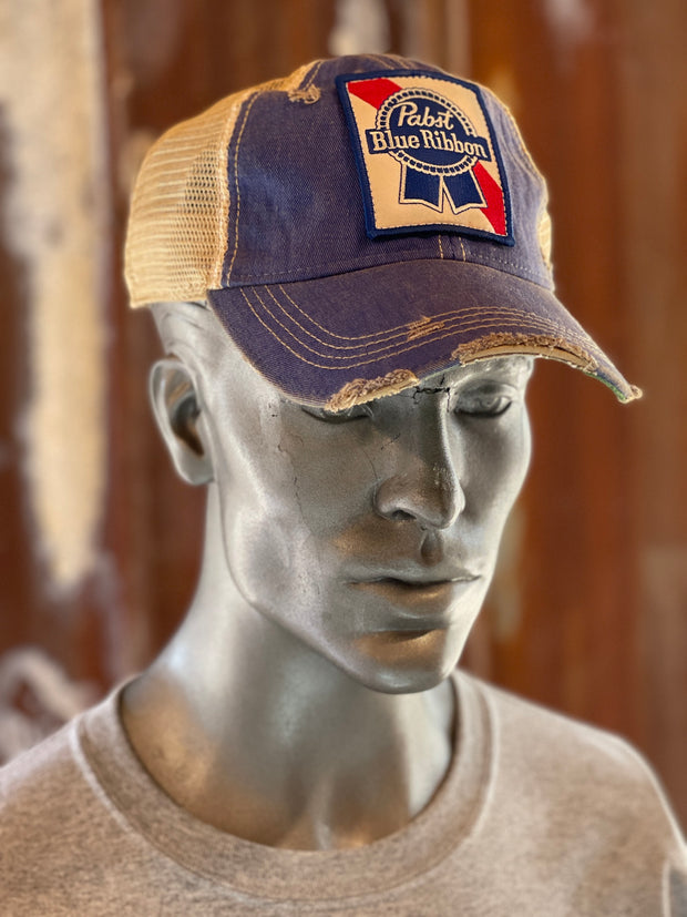Pabst Blue Ribbon Vintage Distressed Hat- Royal Blue