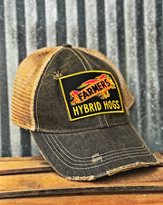 Farmers Hybrid Hogs Hat- Distressed Black Angry Minnow Vintage