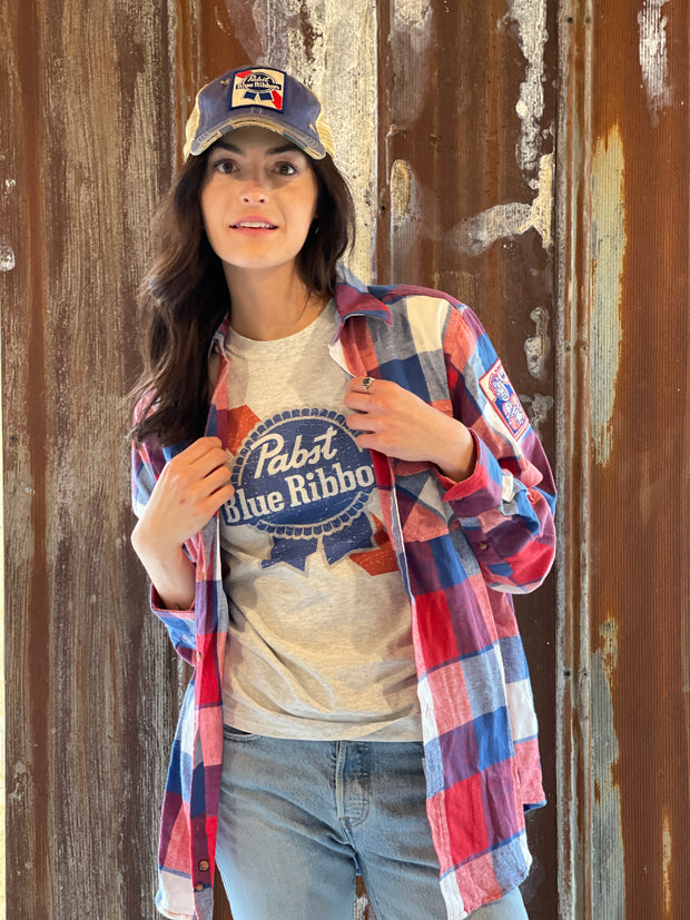 Pabst Blue Ribbon Patch Flannel- Classic Red/ White/ Blue Flannel