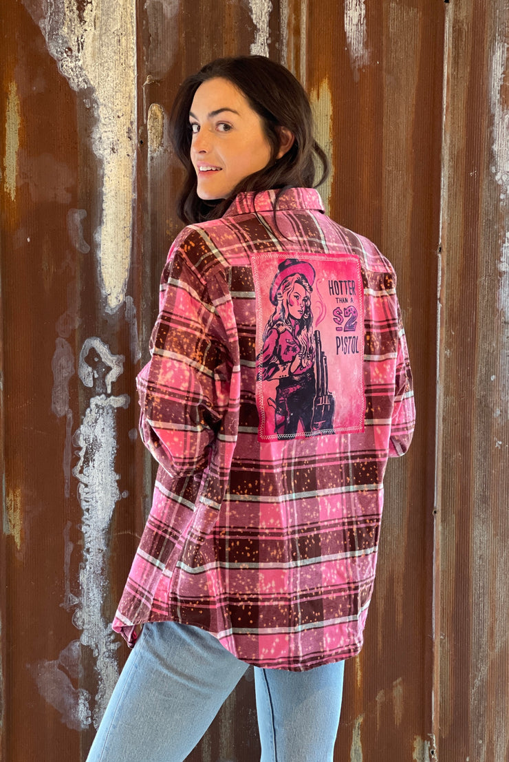 Hotter Than A 2 Dollar Pistol- Distressed Hot Pink Flannel