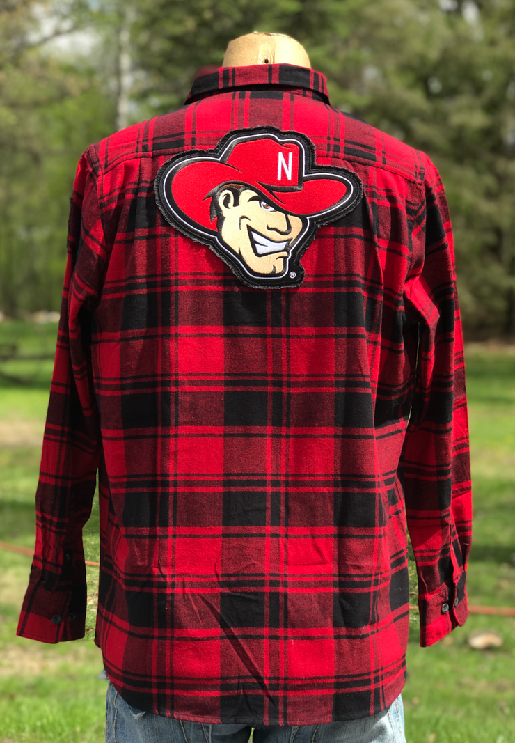 University Of Nebraska Patch Flannel- Classic Red- Angry Minnow Vintage
