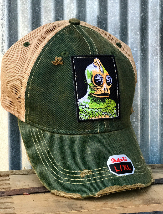 Sleestak Monster Hat - Distressed Dark Green STRETCH FIT