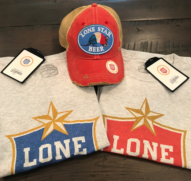 Lone Star Beer Armadillo Logo Hat- Distressed Washed Red Angry Minnow Vintage