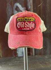 Heileman's Old Style Retro Hat- Distressed Red Snapback