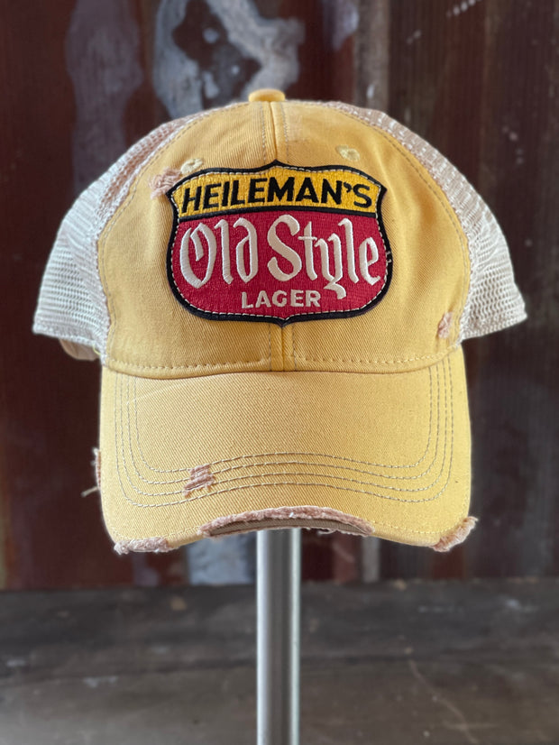 Heileman's Old Style Retro Hat- Distressed Yellow Snapback