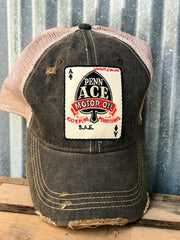 Penn Ace Motor Oil Gasoline Trucker Patch Hat- distressed black Angry Minnow Vintage