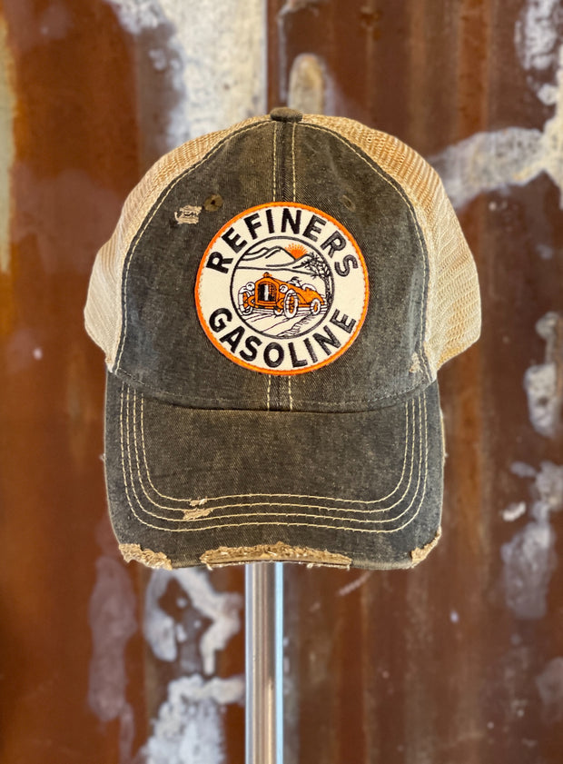Refiners Gasoline Patch Hat- Distressed black snapback