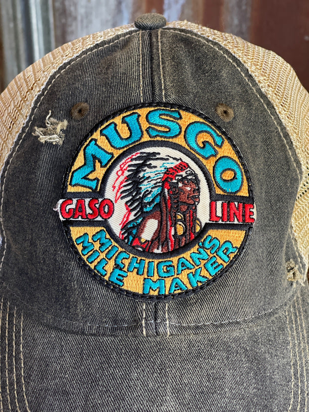 MUSGO Gas Hat- Distressed Black Snapback
