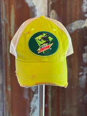 "Mountain Dew ""Sled"" Hat- Distressed Lime Green Snapback"
