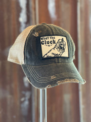 What The Cluck Hat - Distressed Black Snapback