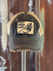 Crazy Chicken Lady Hat - Distressed Black Snapback