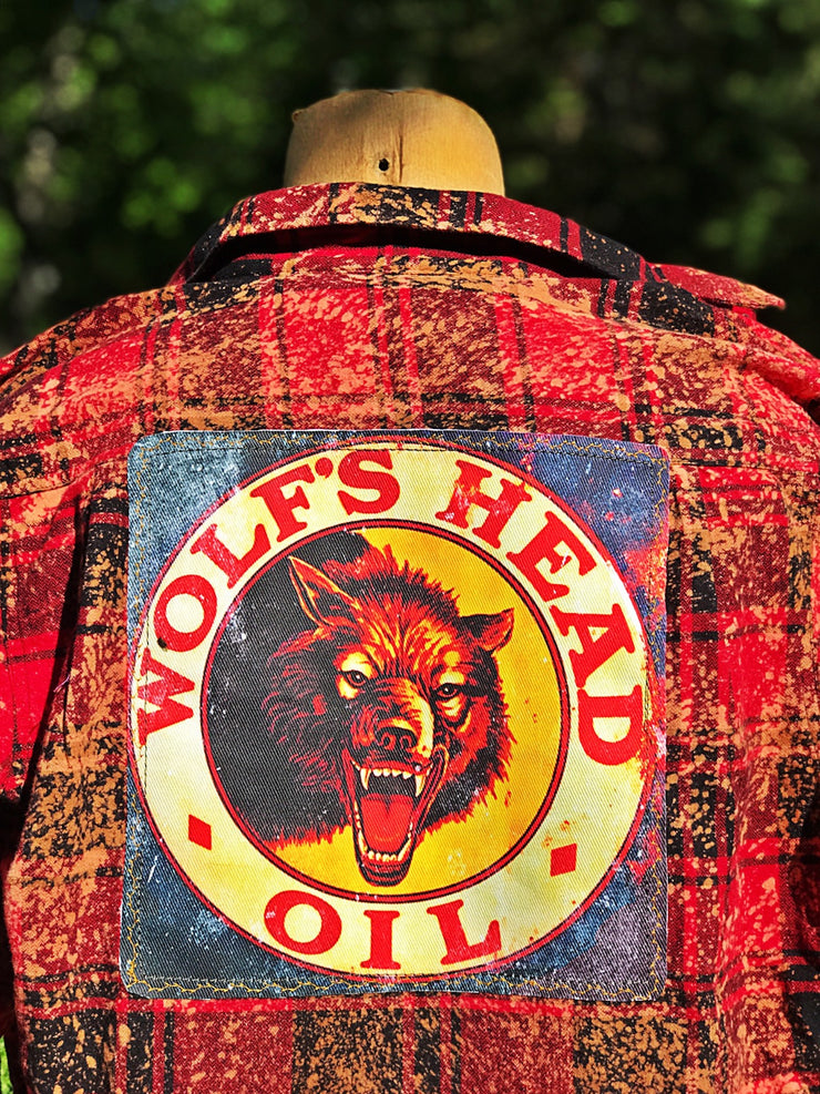 Wolfs Head Oil Flannel Art Flannel- Red