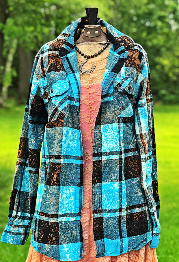 American Buffalo Art Flannel- Distressed Turquoise