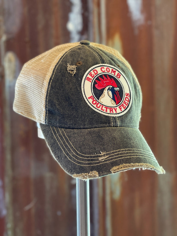 Red Comb Feeds Hat- Distressed Black Snapback Angry Minnow Vintage