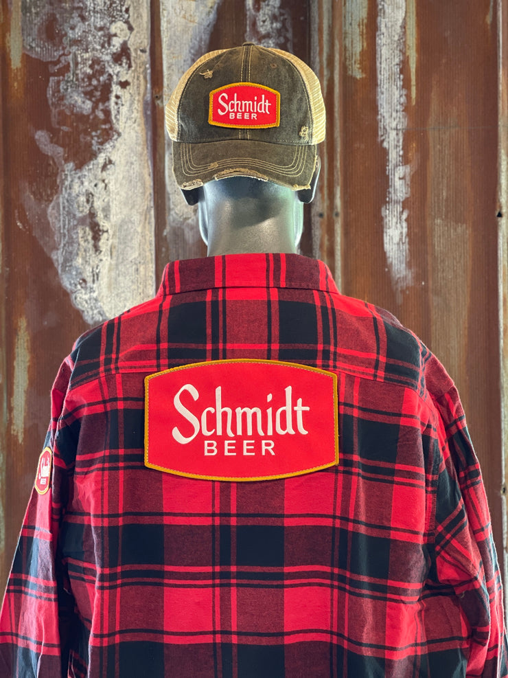 Schmidt Beer Vintage Patch Flannel - Classic Red- Angry Minnow Vintage